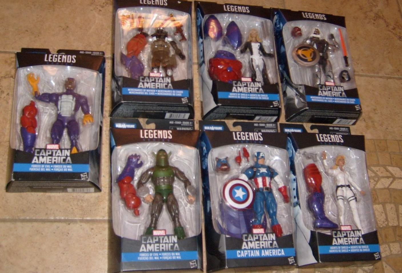 MARVEL LEGENDS BUILD rosso SKULL CAPTAIN AMERICA MOSC MOC MISB MIB SEALED SET OF 7