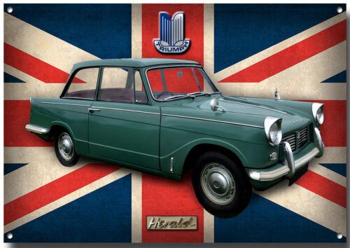 TRIUMPH HERALD METAL SIGN,BRITISH CLASSIC CARS,VINTAGE BRITISH CARS.car
