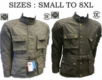 Men COTTON WAXED Motorcycle,Motorbike wax cotton, WP Lined, ARMOUR BIKER JACKET