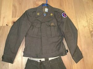 WWII-era-US-Army-10th-MOUNTAIN-Division-IKE-Field-Jacket-34R-Pants-UNIFORM