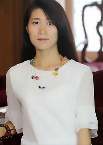 Halskette-golden-Halskette-mehrfarbig-mini-Perle-Tropf-gelb-blau-Original-myl-1