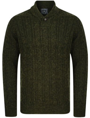Tokyo Laundry Men/'s Wool Blend Shawl Neck Cable Knit Jumper Thick Warm Winter