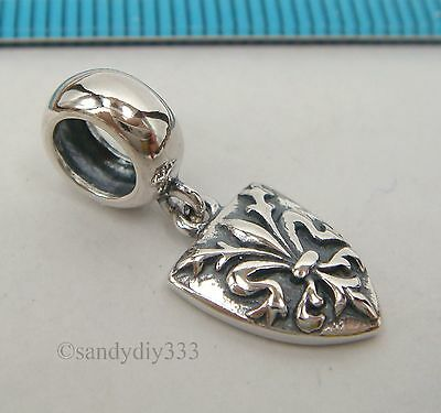 1 STERLING SILVER RONDELLE BEAD with DANGLE SHIELD European BRACELET CHARM #2300