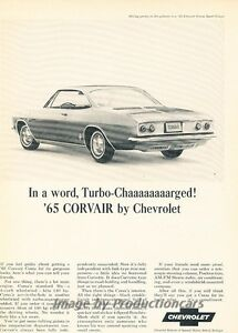 1965 Chevrolet Corvair Corsa Original Advertisement Print Art Car Ad J663