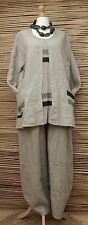 LAGENLOOK BEAUTIFUL QUIRKY 100% LINEN 2 POCKETS TUNIC***BEIGE***BUST UP TO 48""