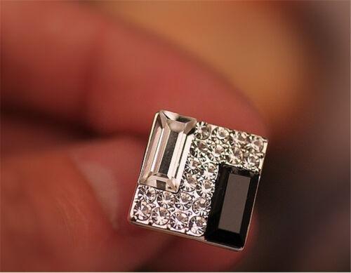 1 Pair Fashion Lady Elegant Crystal Rhinestone Cube Ear Stud Earrings for Women