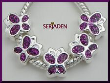 5 Purple Butterfly Spacer Beads for European Style Bracelet  Ships from USA S057