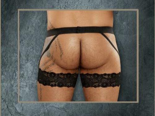 SALE Male Power scandal lace garter belt black open rear 175-178