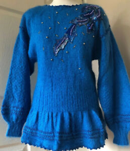 Vintage-Mohair-Wool-Jumper-Embelshed-Beaded-Turquoise-medium-10-12-Hand-Made