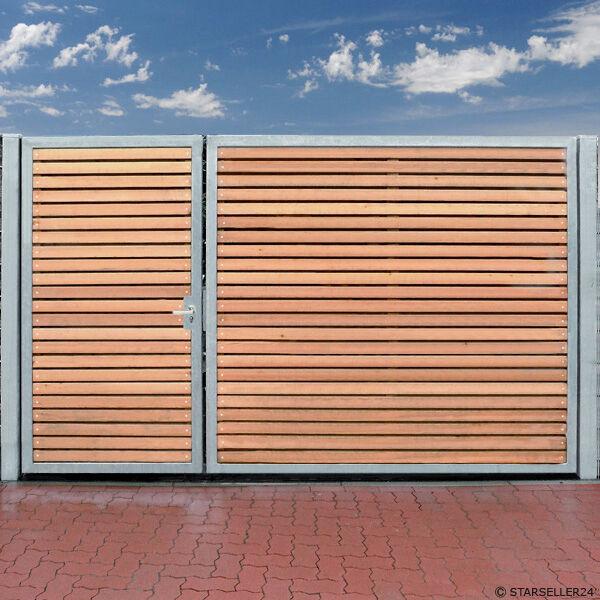 Einfahrtstor 350 x 180cm 2 Flügel Asymmetrisch Verzinkt + Holz Tor Gartentor NEU