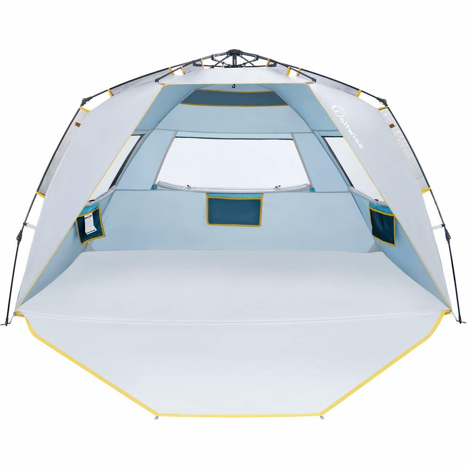 WolfWise Easy Setup Beach Tent UPF 50+ 4 Person Sun Shelter Quick Instant Bea...