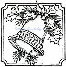CHRISTMAS 3 BELLS PINE /& HOLLY Wood Mounted Rubber Stamp NORTHWOODS PP10326 New