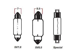 Bulbs-Festoon-12V-5W-Overall-Length-36mm-Base-SV8-5-Colour-Clear