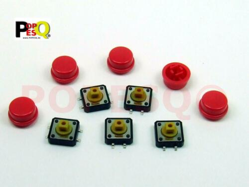 5 Stk x Taster mit Kappe 7.3mm 4 polig SMD Rot Rund #A2116 12mm x 12mm