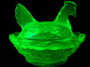 Green-Vaseline-glass-salt-celt-hen-chicken-on-nest-basket-dish-rooster-uranium