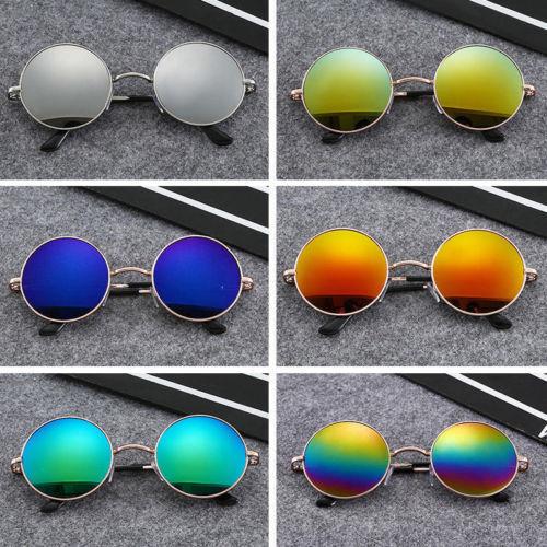 Men UV retro gothic glasses steampunk mirror vintage round circle sunglasses