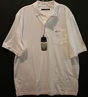 Greg Norman Mens Natural Performance White Chest Pocket Golf Shirt $65 M