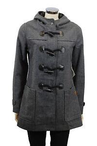 best cheap 5534e f348e Dettagli su Cappotto da donna grigio Montgomery giacca Element casual lana  alamari moda