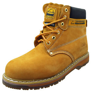 cd6390cdc34 Details about Groundwork Leather Steel Toe Safety Work Lace Up Honey Boots  Oil Resistant