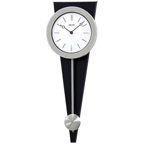 QXC111SLH SEIKO Silver Case Pendulum Analog Quartz Wall Clock on Black Wood