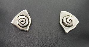 Modernist-3D-Swirl-Sterling-Silver-Stud-Earrings