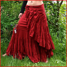 HIPPY BOHO GYPSY WRAP SKIRT, LAYERED FLAMENCO EFFECT, SIZE 8 10 12 14