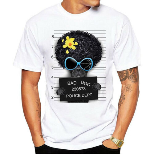 Summer Men Cartoon Funny Present Dog Print Short Sleeve Tee Top Casual T-Shirt