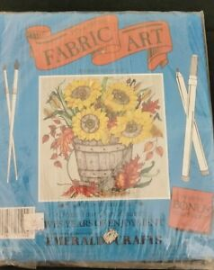 Vintage-Pen-and-Brush-Fabric-Art-Kit-Emerald-Crafts-Sunflowers