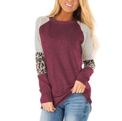 Woman Long Sleeve T-shirt Stripes Leopard Printed O Necl Casual T-shirt S-3XL