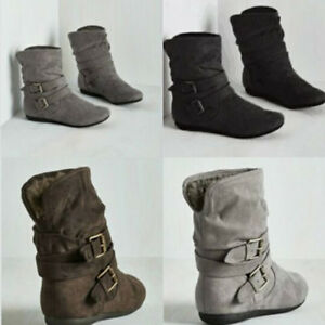 07d7add23ec29 Womens Winter Suede Short Boots Fashion Warm Soft Pumps Casual Ankle ...
