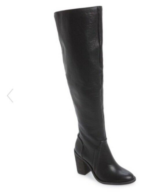 New Vince Camuto Melaya Riding Over Over Over The Knee Boot Size 6 Zipper Black 02429a