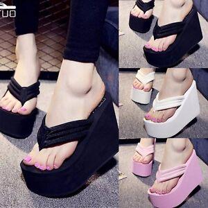 Women-039-s-Flip-Flops-High-Heels-Wedge-Slippers-Platform-Summer-Antiskid-Beach-Shoe