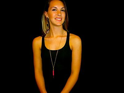 """RARE NWT Kate Spade """"Doodles"""" PINK PENCIL Retro Office Inspired Pendant Necklace"""