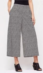 LARGE-EILEEN-FISHER-Black-White-Bandhini-Print-Cropped-Wide-Leg-Pants-NWT-158