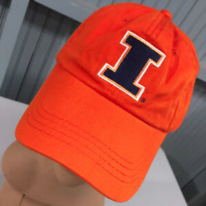 promo code 50958 6b072 Image is loading Illinois-Fighting-Illini-Orange-Strapback-Baseball-Cap-Hat-