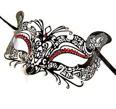 El Gato Venetian Style Metal Filigree Masquerade Mask Red Diamante Cat Fox Mouse