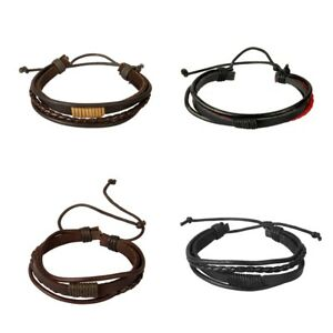 PU-Leather-Braided-Cord-String-Pull-Tie-Adjustable-Bracelet-Mens-Fashion