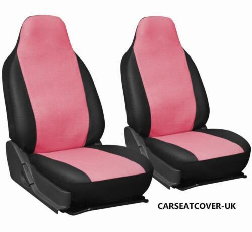 2 X frentes Peugeot 207 CC-Rosa y Negro Cuero Sintético Cubiertas de Asiento de Coche