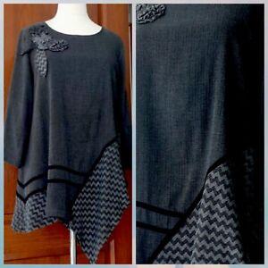 85f96230185 Beautiful Zedd Plus Taille 4 Lagenlook Stylish Tunic w Flower Design ...