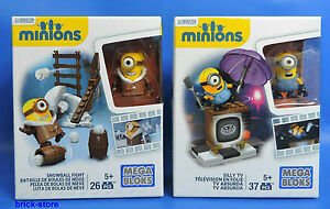 Mega-Bloques-Minions-LOCO-TV-Silly-TV-y-Snowball-Fight