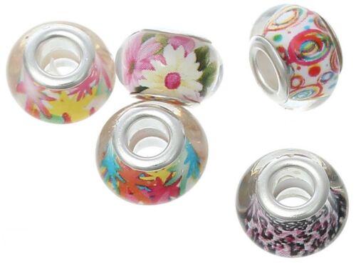 5 pcs. großloch Perles motif Mix Sadingo perles de verre European Style Perles