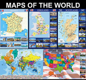 World Map Of England.Maps Of The World Maps Of England Etc Posters Upto A1 Size Frames