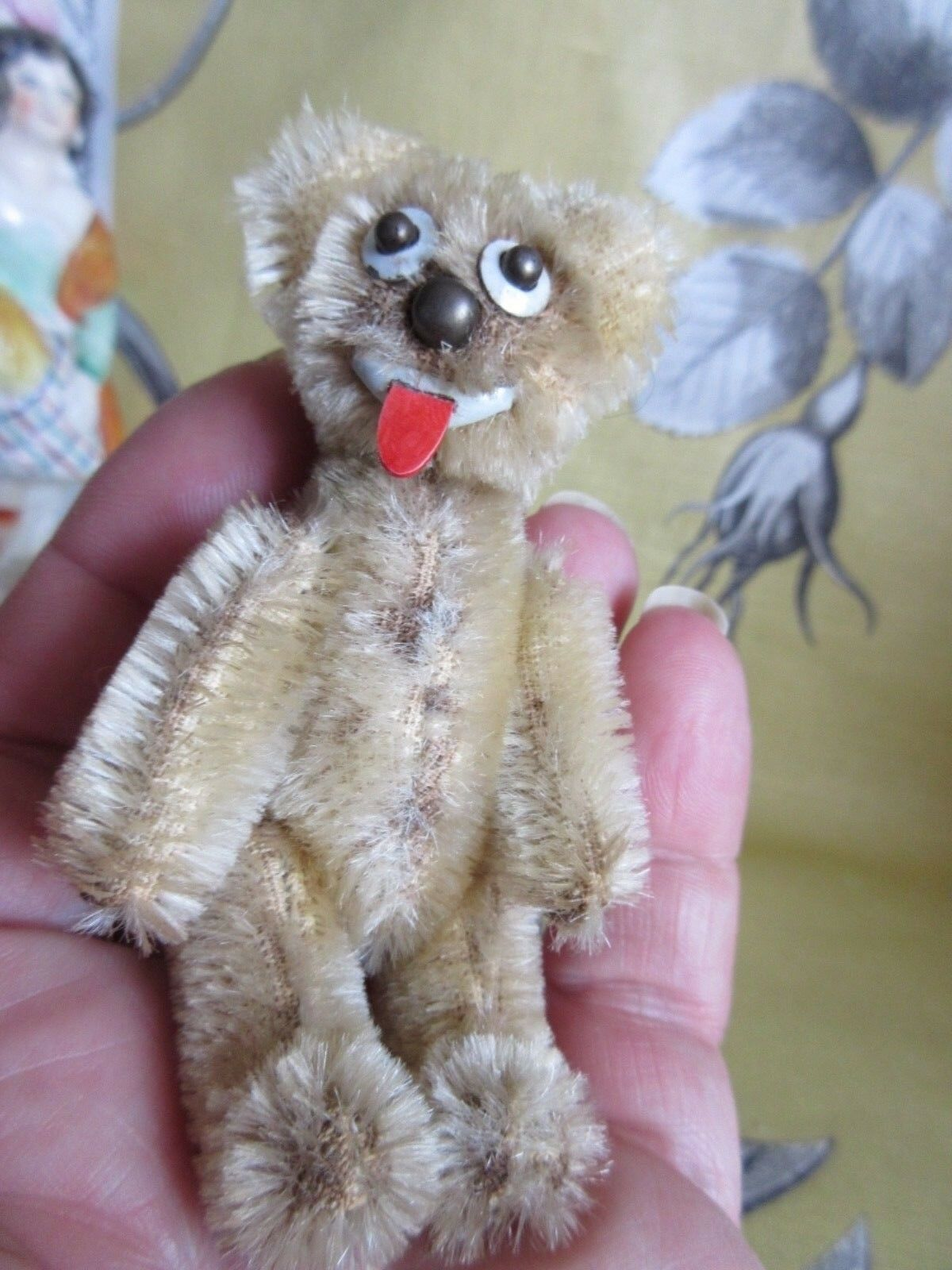 Schuco Janus bear, metal body blonde mohair coverot, fully jointed 1950's