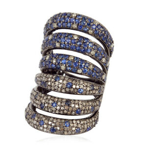 Halloween-Day-Gift-Pave-Diamond-Blue-Sapphire-925-Sterling-Silver-Ring-Fashion