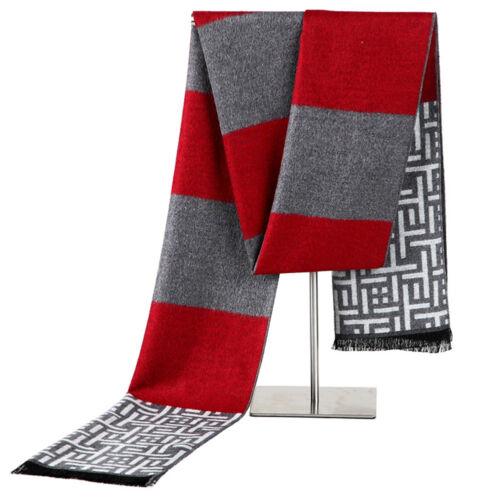 Fashion Hot Men Silk Houndstooth Scarf Wrap Warm Winter Tassel Shawl Scarves