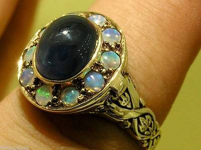 C051 Vintage insp Genuine 9ct Gold NATURAL Sapphire & Opal Locket Ring in yr siz