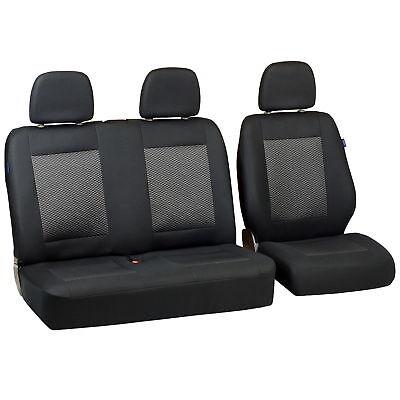 Schwarz-graue Dreiecke Sitzbezüge für FORD TRANSIT Autositzbezug SET 1+2