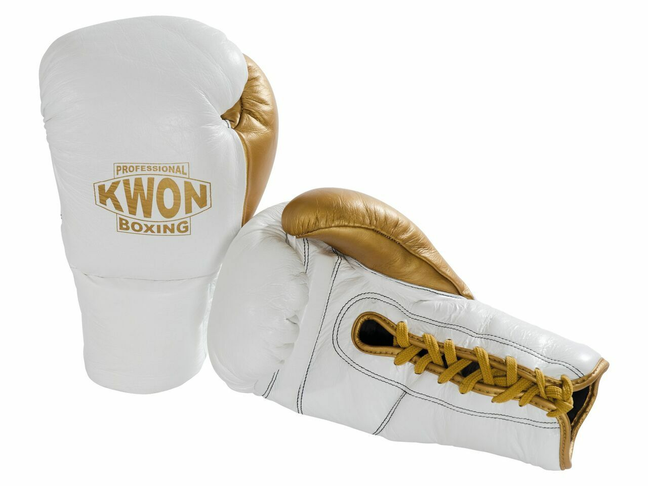 Kwon- Professional Boxing Handschuhe Leder mit Schnürung. 10oz. weiß/gold.