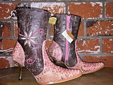 NEW White Diamonds Pink Python Leather Western Cowgirl Cowboy Boots Size 6 NWT