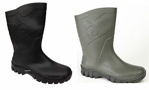 Mens-Womens-Dunlop-Hevea-Black-Green-Short-Half-Ankle-Welly-Boots-Wide-Calf-New
